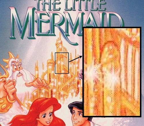This image featured on the original video box cover of The Little Mermaid - a palace of penises?