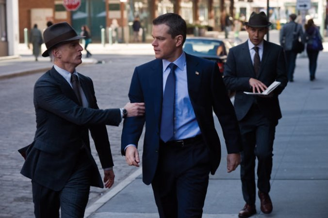 Matt Damon with the Men in, urm, Grey