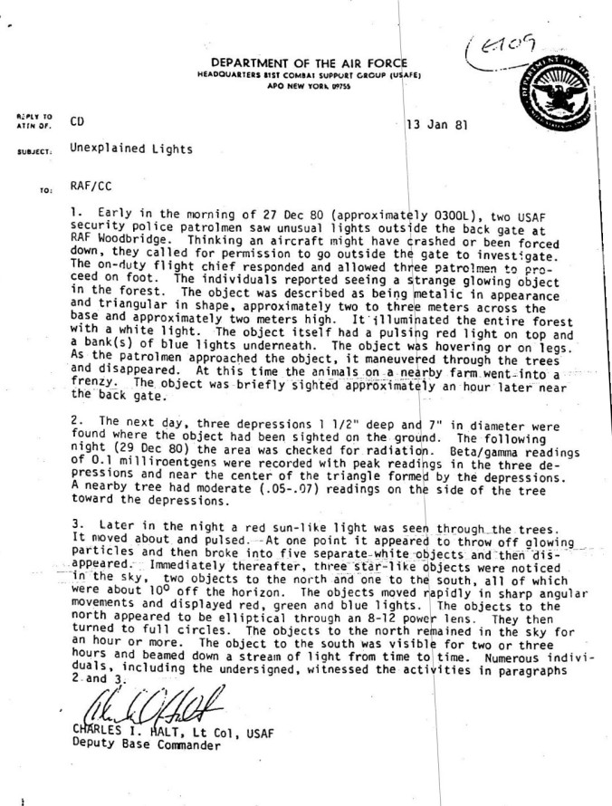 Colonel Halt's account of the Rendlesham Forest Incident