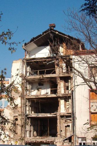 The damaged headquarters of Radio Television of Serbia - was Jill Dando killed in retaliation?