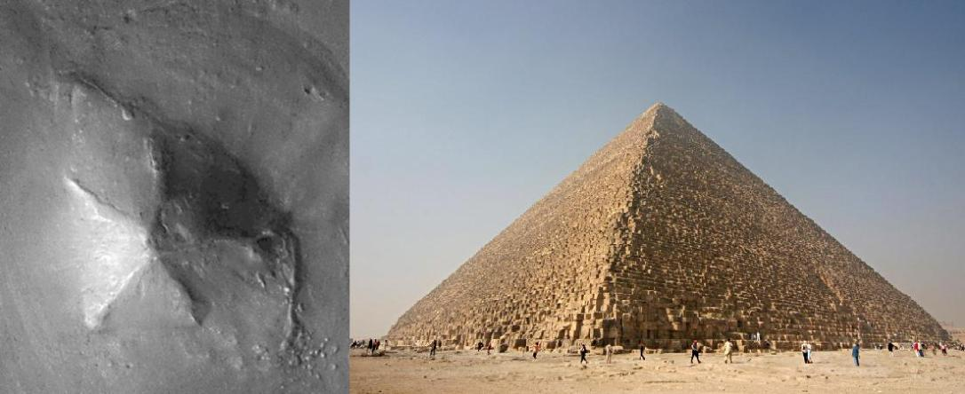 One of the Pyramids of Mars and the Great Pyramid of Giza
