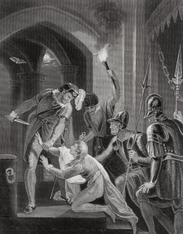 An 18th century depiction of Arthur's murder by John