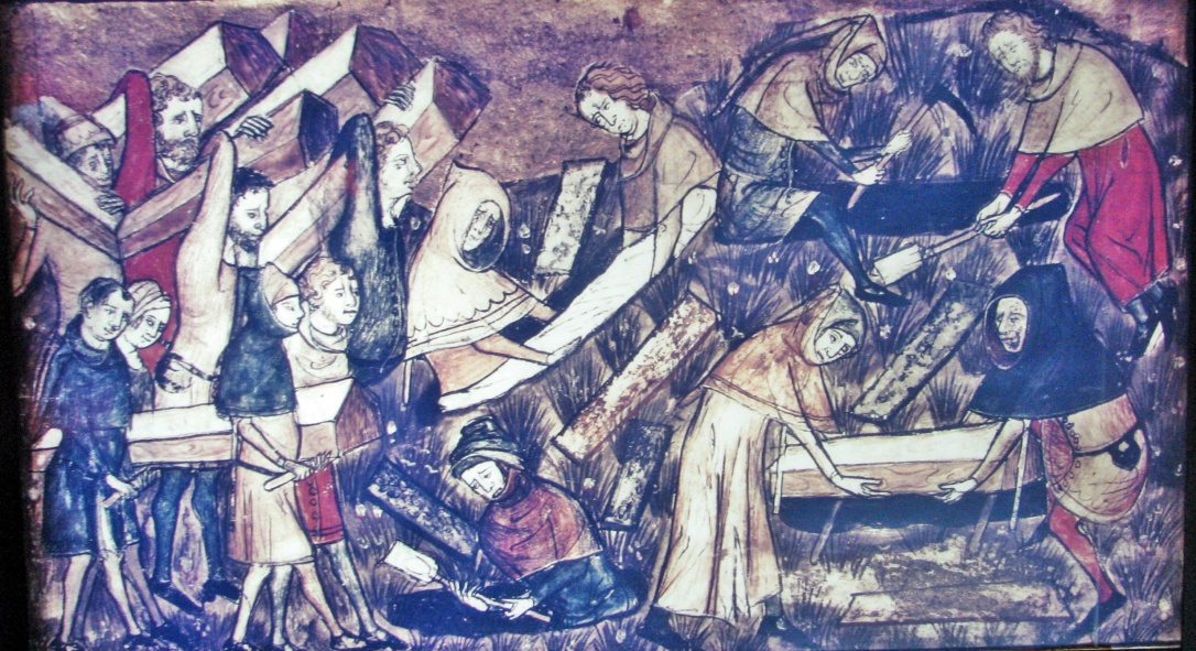The citizens of Tournai bury their dead during the Black Death