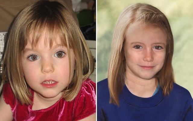 Madeleine McCann, aged 3, and how she might have looked aged 9