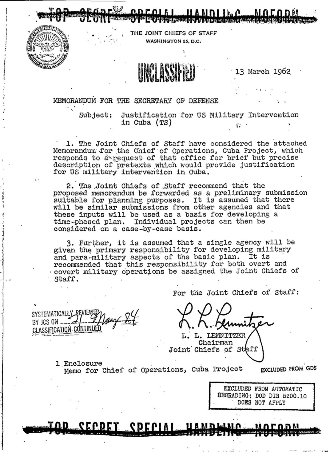 The first page of the Operation Northwoods memo