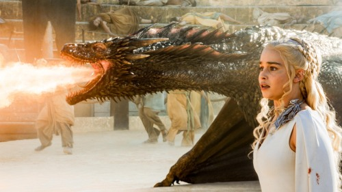 "Daenerys and her dragon, Drogon, in ""Game of Thrones"""