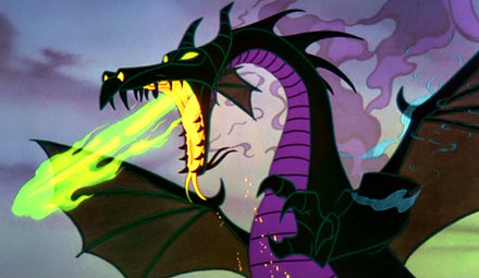 "Maleficent, after transforming into a dragon in ""Sleeping Beauty"""
